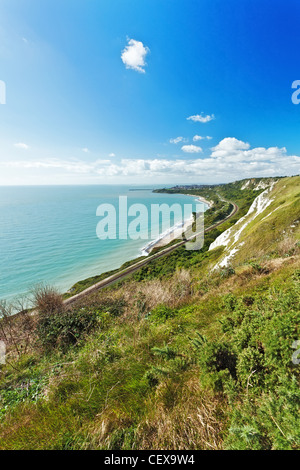 A view from the White Cliifs of Dover towards Folkestone and the English Channel. - Stock Photo