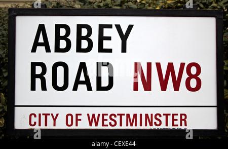 Abbey Road Roadsign London UK - Stock Photo