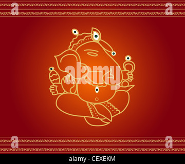 Indian God Ganesha illustration - Stock Photo