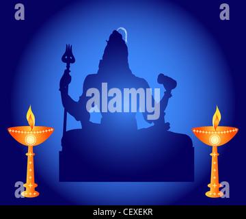 Indian God Shiva with decorative lamps illustration - Stock Photo