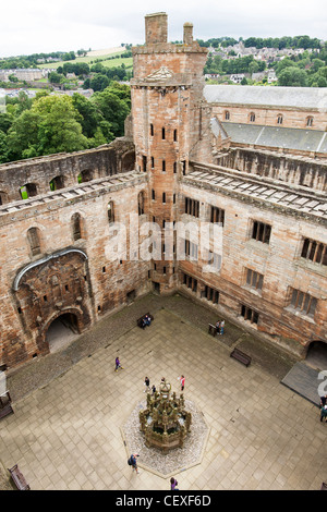 A view from above into the courtyard of the ruins of Linlithgow Palace in Scotland. The palace was home to kings - Stock Photo