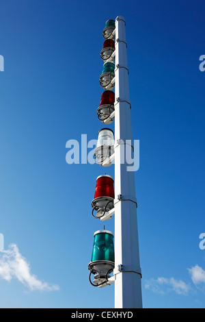 Navigation Lights at Cardiff Barrage, Cardiff Bay, Wales, UK - Stock Photo