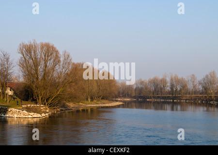 Adda river, Cassano d'Adda, Lombardy, Italy - Stock Photo
