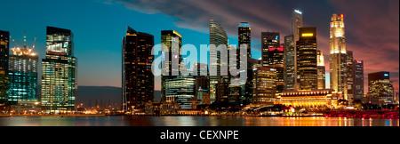 Singapore City Skyline at Dusk - Stock Photo