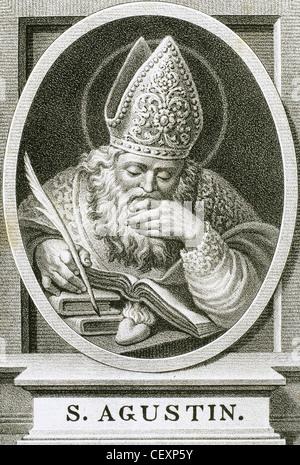 Augustine of Hippo (354-430). Latin philosopher and theologian. Bishop of Hippo Regius. Portrait. Engraving. 1876. - Stock Photo