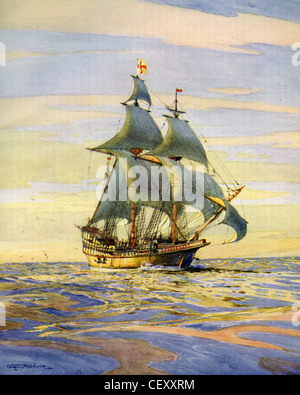 THE GOLDEN HIND captained by Sir Francis Drake on his circumnavigation of the globe. Painted by naval historian - Stock Photo