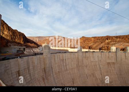 Hoover Dam on the Nevada Arizona border.  Lake Mead - Stock Photo