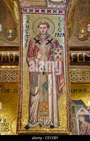 Byzantine mosaics in the Palatine Chapel in the Norman Kings Palace, Palermo, Sicily, Italy - Stock Photo