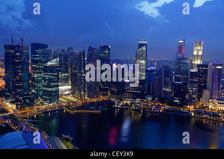 View of the the bay from the Marina Bay Sand Hotel, Singapore - Stock Photo