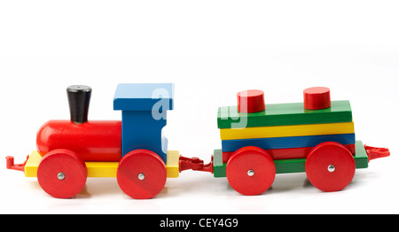 Wooden train, a toy, isolated on white - Stock Photo