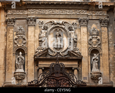 Cathedral facade in Aix en Provence with rich decoration - Stock Photo