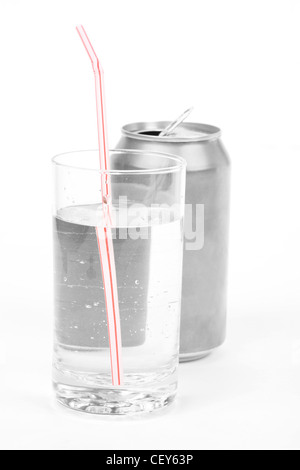 silver soda can and glass with white background - Stock Photo