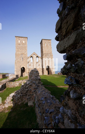 The Reculver Towers on the north coast of Kent - Stock Photo