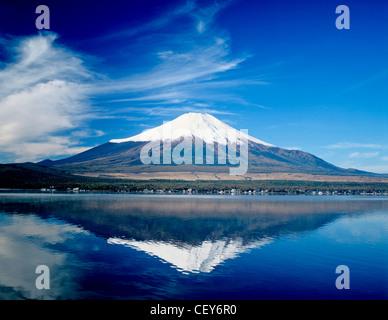 Mount Fuji and Lake Yamanakako. - Stock Photo