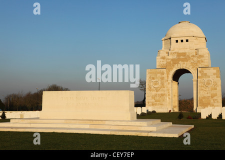 The entrance to Cabaret-Rouge British Cemetery at Souchez, France. - Stock Photo