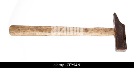 Old rusty hammer isolated on white background - Stock Photo
