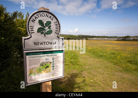 UK, England, Isle of Wight, Newtown harbour, National Trust Coastguard Meadows information sign - Stock Photo