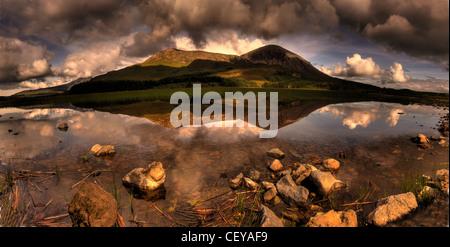 Road to Elgol, Isle of Skye, Scotland panorama landscape from Scottish inner Hebrides - Stock Photo
