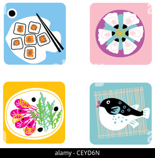 Four colourful plates of food - Stock Photo
