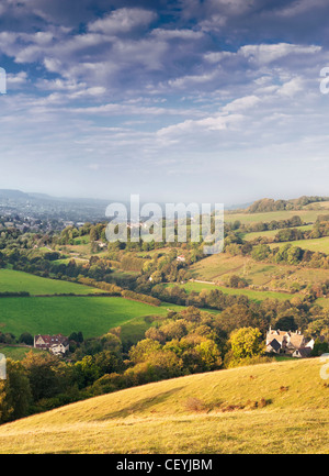 View of Slad Valley, Stroud, from Swifts Hill Nature Reserve - Stock Photo