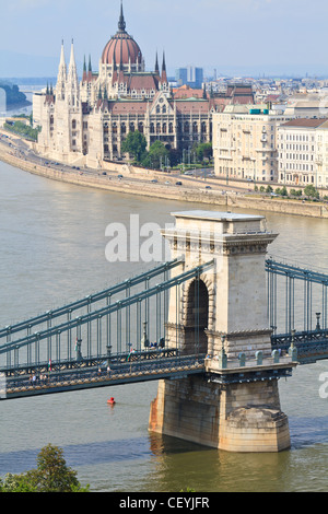 Chain Bridge and Hungarian Parliament, Budapest, Hungary - Stock Photo
