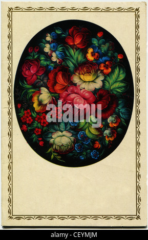 USSR - CIRCA 1971: Postcard shows Flowers, a fragment of decorative painting on a tray, Zhostovo, circa 1971 - Stock Photo