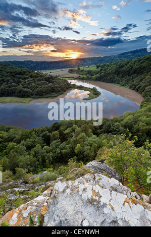 View from Wintour's Leap, Wye Valley England Wales border looking from Gloucestershire England into Wales - Stock Photo