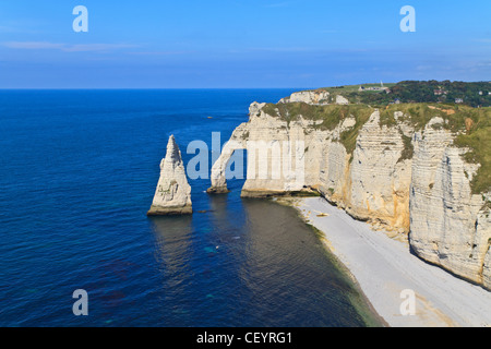 Cliffs of Etretat, Normandy, France - Stock Photo