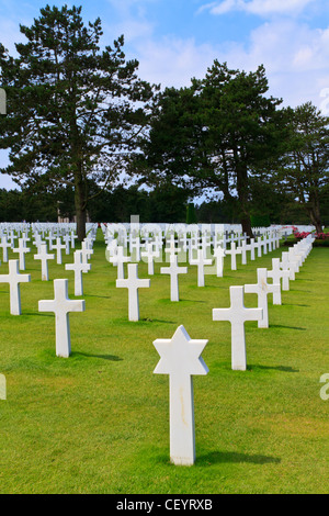 American War Cemetery near Omaha Beach, Normandy (Colleville-sur-Mer) - Stock Photo