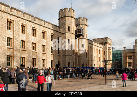 People queing to see the Crown Jewels outside the Jewel House in the Tower of London - Stock Photo