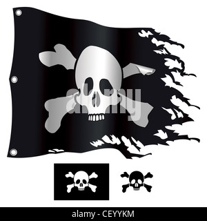 Jolly Roger flag - Stock Photo