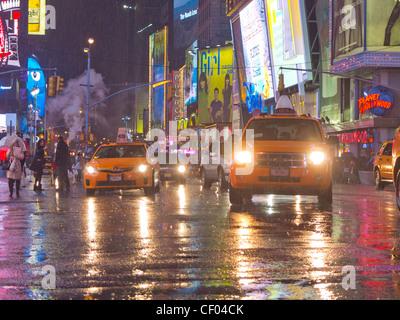 times square in the rain - Stock Photo