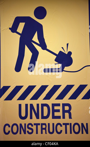 Under construction sign - seen in the work area - Stock Photo
