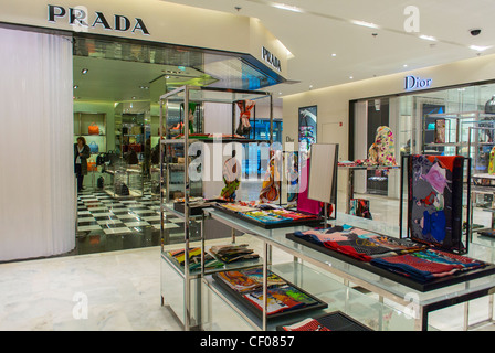 Paris, France, Prada Store at Printemps Department Store, Luxury CLothing and Accessories Shopping, inside display - Stock Photo