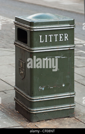 Litter bin in the street, Ely, Cambridgeshire, UK - Stock Photo