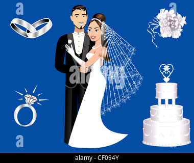 Vector Illustration of a wedding couple and icons. - Stock Photo
