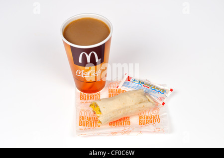 McDonald's Mccafe coffee with a sausage breakfast burrito on wrapper on white background cut out USA - Stock Photo