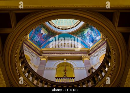View up to the central rotunda of the British Columbia legislature building, Victoria, Canada - Stock Photo
