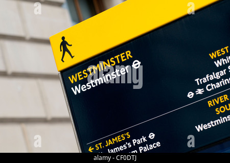 A tourist information board in the Westminster district of London, England, UK - Stock Photo