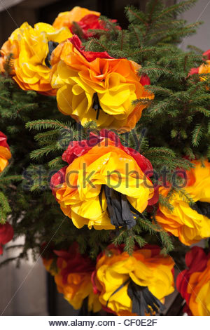 flowers made from paper to decorate streets in Tomar Portugal Festival dos Tabuleiros 2011 - Stock Photo