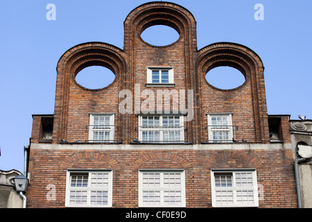 Interesting abstract shape of a historic tenement house attic in the Old Town of Gdansk, Poland - Stock Photo