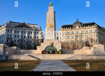 Wreaths laid by Russian officials at World War II memorial to Soviet soldiers killed during  Freedom Square Budapest, - Stock Photo
