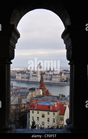 View towards the Hungarian Parliament buildings from Fisherman's Wharf on the Buda side of Budapest, Hungary, Europe - Stock Photo