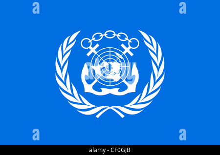 Flag with coat of arms of the International Maritime Organization IMO with seat in London. - Stock Photo