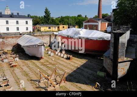 Ships are repaired in the large dry-dock. The dry-dock is unique in the world and the pride of Suomenlinna. The - Stock Photo