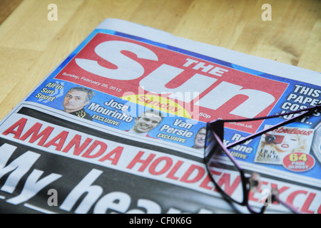 The first edition of the Sunday Sun newspaper news paper released on 26th February 2012. - Stock Photo