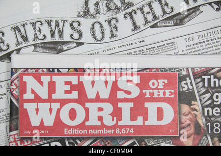 The red top banner of the final 'News of the World' British national Sunday newspaper on 10th July 2011 (on the - Stock Photo