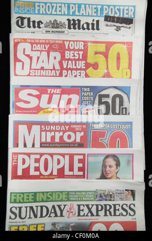 The tabloid British national Sunday newspapers inc The Mail on Sunday, Daily Star on Sunday, The Sun on Sunday & - Stock Photo