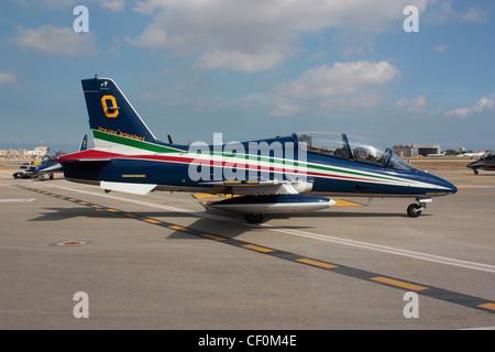 Aermacchi MB-339 of the Italian Frecce Tricolori aerobatic team at the 2011 Malta International Airshow - Stock Photo