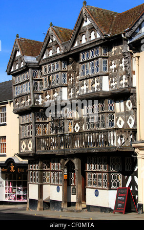 Black and white beamed Hotel at Ludlow, Shropshire, England, Europe - Stock Photo